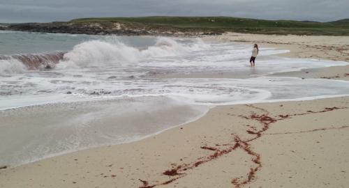 Surfing waves at Traigh S'Tir, Hosta Machair